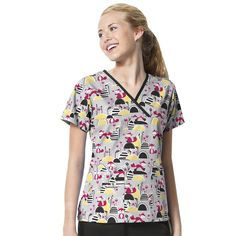 Origins By Wonderwink Women's Y-Neck Mock Wrap Print Top #nurse #doctor #hospitalstyle #medicalstyle #scrubs Foxy <3