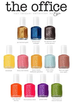 The Office by Essie!!    Neeeeeed these. Especially the that's what she said one :) eeee get in my closet!!