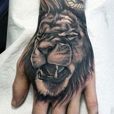 Animal Hand Tattoos - Lion
