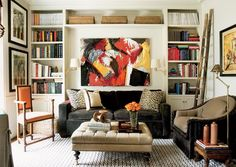 abstract art, tufted ottoman, corduroy couch