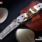 Damascus custom handmade folding knife,hunting knife,stag handle