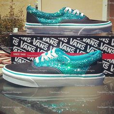 These are beautiful! Teal sparkly vans!