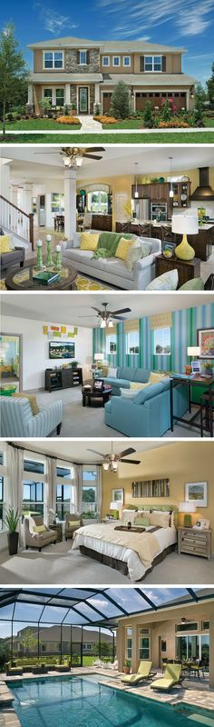 The Norchester by David Weekley Homes in Broker Reserve is a 4 bedroom, 3 bath floorplan that features a lanai, an open kitchen and family room and a front porch. Custom home upgrades include an extended lanai, a bay window in the owners retreat or a super shower in the owners bathroom.
