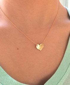 Gold Necklace Dainty Gold Necklace Gold Heart by AvaHopeDesigns