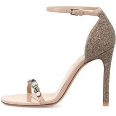 Valentino Embellished Glitter Naked Sandal (24.360.410 IDR) ❤ liked on Polyvore featuring shoes, sandals, ankle tie sandals, ankle strap shoes, decorating shoes, glitter sandals and high heel sandals