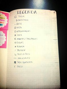 La legenda, keys in italiano, bullet journal italiano