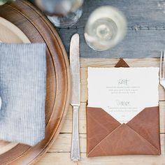 Let the groom choose! Add a masculine touch to your wedding with leather accents.