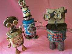 'Greta,' 'Peanut,' & 'Maxwell' - robot assemblage sculptures made by  Reclaim2Fame (Will Wagenaar)