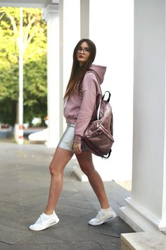 NIKE AIR MAX shoes \ обувь  ASOS backpack \ рюкзак  ROMWE skirt \ юбка  SHEIN sweatshirt \ свитшот  MAX&CO glasses \ очки DANIEL WELLINGTON watch  \ часы