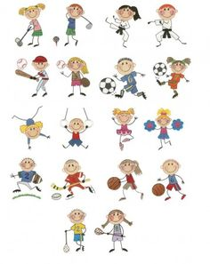 Stix kids sports filled machine embroidery designs including karate, golf, gymnastics, cheerleaders, soccer and more