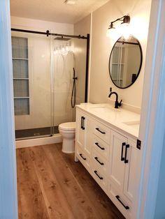 Upstairs Bathrooms, Downstairs Bathroom, Laundry In Bathroom, Basement Bathroom Ideas, Small Master Bathroom Ideas, Black And White Master Bathroom, Small White Bathrooms, Best Bathroom Flooring, Rustic Master Bathroom