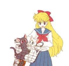 Luna hangs out with Minako and Artemis