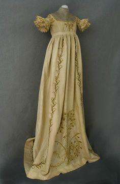 Circa 1810 Child's hand-embroidered Regency dress.