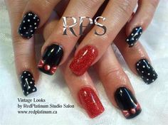 Vintage Styles by RedPlatinum - Nail Art Gallery by Nails Magazine Pin Up Nails, Get Nails, Hair And Nails, Funky Nails, Trendy Nails, Rockabilly Nails, Rockabilly Wedding, Rockabilly Style, Uñas Pin Up