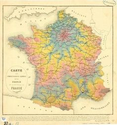 Here is a cool Isochrone Map of France from 1882.