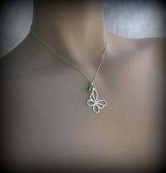 Butterfly necklace sterling silver by always4evercreations on Etsy