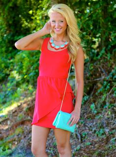 EVERLY:Material Twirl Dress-Red Dress Red - $49.00