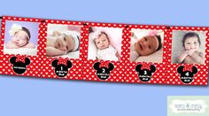 Minnie Mouse First Year Photo Banner / 12 Month Banner / Minnie Mouse First Birthday Party / RED by HeartsandCraftsy Minnie Mouse First Birthday, First Birthday Parties, First Birthdays, 2nd Birthday, Happy Birthday, Birthday Ideas, Special Birthday, Minnie Mouse Roja, Minnie Mouse Party