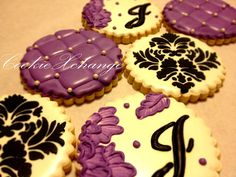 Damask Quilted and Embroidered Decorated Cookies via @Etsy