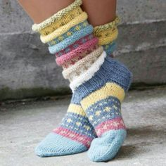 I love these multicolor   knit socks.