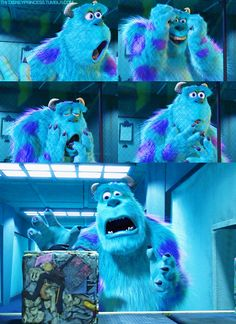The faces Sulley makes when he thinks Boo is in the trash compactor.