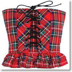 Punk goth rock corset Red and grey tartan velvet underbust corset