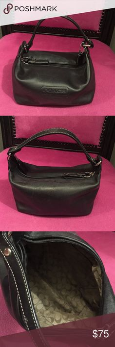 Authentic Coach Purse - Holds it All!!' This is the perfect hold all Bag. It is small but holds my 6+, wallet, keys, makeup, etc comfortably! You would not believe what you can get in this thing!!! Coach Bags Mini Bags