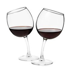 "Too cute. $25 for ""tipsy"" wine glasses by uncommongoods.com. Great site for gift ideas!"