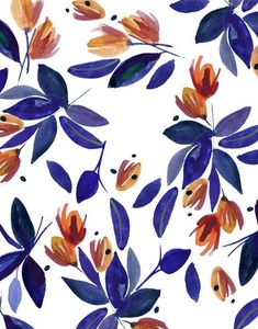 Floral pattern, complementing colors, leaves and flowers, watercolor Motifs Textiles, Textile Patterns, Textile Prints, Doodle Pattern, Pattern Art, Pretty Patterns, Flower Patterns, Flower Pattern Design, Design Patterns