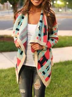 Multicolor Long Sleeve Geometric Print Cardigan -SheIn(Sheinside)
