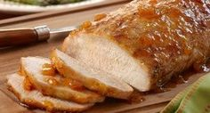 Herb Pork Roast with Ginger Peach Glaze: Just 5 minutes of preparation is all you need for a delectable pork roast. Brush the roast with an easy glaze of peach preserves, seasoned salt,...