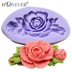 Molde Silicone Rosa com Folhas e Botão para Sabonetes, Chocolates, Fondant