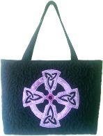 Gecko Fabric Art - applique quilted mini tote bag - celtic cross design