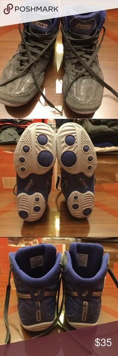 Asics Split Second 9 Grey and blue Asics Split Second 9 wrestling shoes - size: 7.5 in men's. Condition: 8.5-9/10 - worn for a few weeks but only has slight label cracking (seen in last picture) Asics Shoes Athletic Shoes