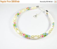 ON SALE FREE Shipping Necklace tube, seed beads necklace, flower necklace, bead crochet rope, gift for her, wedding necklace, white necklace
