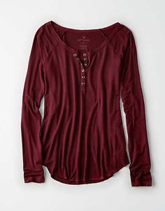 AEO Soft & Sexy Long-Sleeve Henley T-Shirt clearance - Women Long Sleeve Shirts - Ideas of Women Long Sleeve Shirts Red Long Sleeve Tops, Long Sleeve Shirts, Sweater Weather, Henley Shirts, Henley Tee, Long Sleeve Henley, Sweater Shop, T Shirts For Women, Clothes For Women