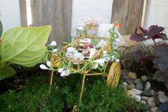 Miniature Fairy Garden Metal Desert Tea Cart Cottage Cookies Hat Shabby Supplies Accessories Set by fairyinthegarden1 on Etsy