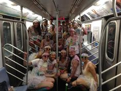 Color Runners on the subway.