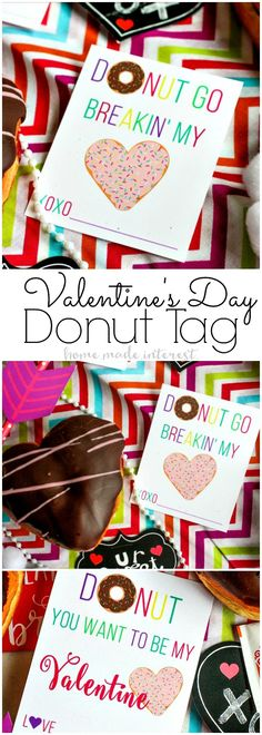 Easy Valentine's Day Donut Cards   Donuts for Valentine's Day the perfect Valentine's Day treat! Make these easy Valentine's Day favors for your sweetie or your kids' classroom Valentine's Day favor. This free printable donut valentine's day cards are just as sweet as a dozen donuts! #ad