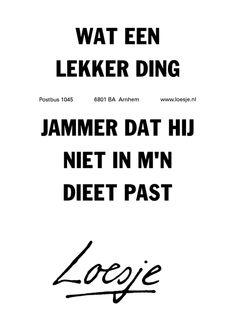 Wat een lekker ding. Jammer dat hij niet in mijn dieet past @Loesje van Herp van Herp van Herp van Herp Like Quotes, Top Quotes, Words Quotes, Funny Quotes, Sayings, Single Life Quotes, Dutch Words, Dutch Quotes, One Liner