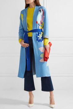 Mira Mikati - Appliquéd Cotton-jacquard Robe - Sky blue - FR