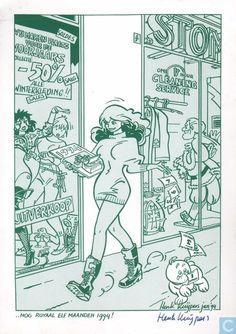 Carte postale - Carte de voeux bande dessinee - nog ruim 11 maanden 1994