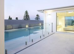 pool with glass fencing Outdoor Tiles, Outdoor Decor, Pool Remodel, Glass Fence, Back Deck, Courtyards, Fencing, Beautiful Landscapes, Pools