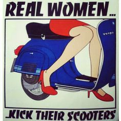 women and vespa