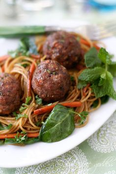 Asian style turkey meatballs with baby spinach, carrots, ginger and lime
