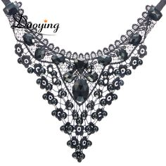DUOYING Choker Necklace For Women Black Bead Lace Necklace Fashion Wedding Necklace Jewelry Statement Women Choker Necklace