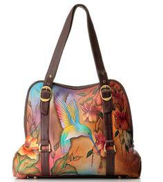 2bbb52ea2ca6 Anuschka Hand-Painted Leather Zip Top Hobo Handbag w  Credit Card Holder