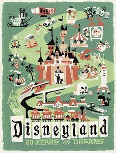 Disneyland 60 Years of Dreams: Road to Dreams, Designed by: Mike Peraza Poster Disney, Vintage Disney Posters, Vintage Disneyland, Vintage Travel Posters, Vintage Mickey, Disneyland Images, Disneyland 60th, Disneyland California, Vintage Cartoon