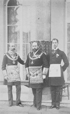 The Duke of Connaught, The Prince of Wales (Edward VII) and The Duke of Clarence in Masonic regalia, 1886