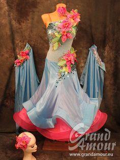 Very colourful gown Ballroom Costumes, Ballroom Dance Dresses, Dance Costumes, Heavy Dresses, Blue Dresses, Latin Dresses, Prom Dresses, Dance Fashion, Fashion Dresses